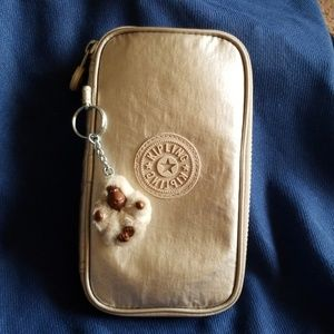 Gold Gently used Kipling pen/pencil pouch